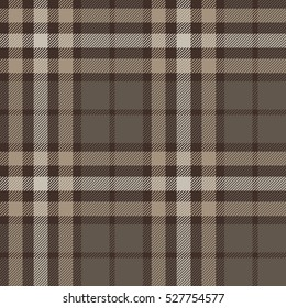 Plaid (tartan) seamless pattern. Brown, beige, white color. Scottish, lumberjack and hipster fashion style.