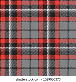 Plaid (tartan) seamless pattern. Red, black, gray and white color. Scottish, lumberjack and hipster fashion style.