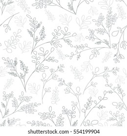 Plain background with small plants and flowers. Floral ornament in the style of the sketch lines Vector seamless background scrapbooking idea Shabby Chic