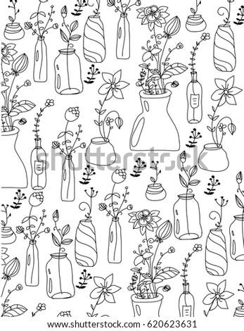 Plain Black White Drawing Flowers Vase Stock Vector Royalty Free