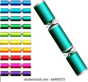Plain Christmas crackers in a variety of colours on a white background.