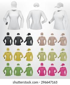 Plain Female Long Sleeve Shirt Template On Isolated Background