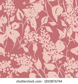 Plain floral drawing. Silhouettes of blooming lilac flowers in vintage style. Elegant seamless botanical pattern made of spring flowers. Nature ornament for textile, fabric, wallpaper, surface design.
