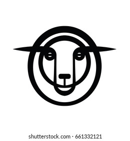 Plain stylized drawing head of sheep
