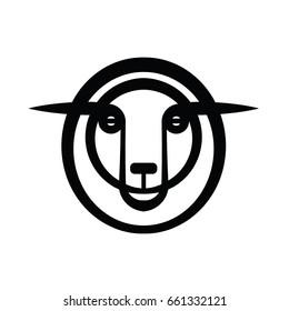 Plain stylized drawing head of sheep