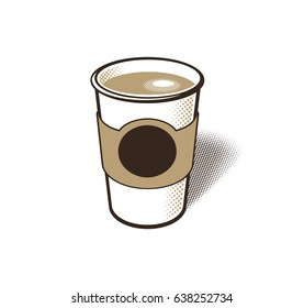 Plain white paper coffee cup with cardboard holder. Full cup of coffee, latte, or espresso with foam on top. Empty space for copy or logo.