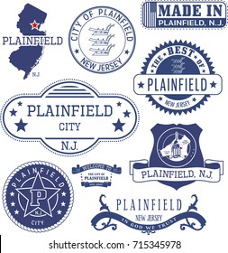 Plainfield city, New Jersey. Set of generic stamps and signs