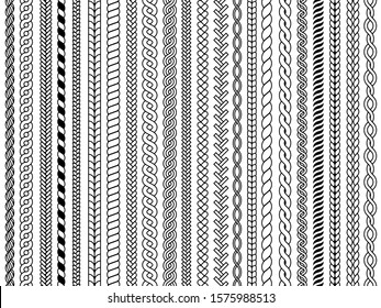 Plaits pattern. Ornamental braids knitting cable fashion textile structures graphic vector seamless illustrations