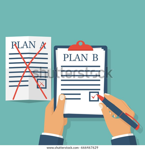 Plan B. Businessman hold clipboard in hand. Plan A failed. White crumpled sheet on table. Pen writes. Vector illustration flat design. Isolated on background. Success solution. Alternative idea.