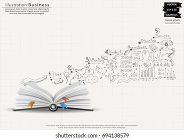 Plan - Book and Sketch icon various -  modern Idea and Concept Vector illustration Business Infographic template.
