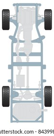Plan of car chassis showing wheels, transmission engine and suspension
