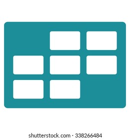 Plan Dataset vector icon. Style is flat symbol, soft blue color, rounded angles, white background.