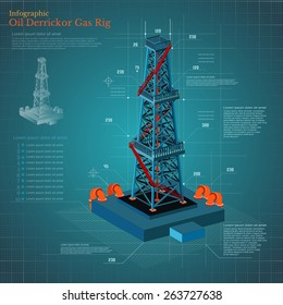 plan drawing oil derrick tower or gas rig info graphic on blue scheme paper