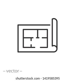 plan floor icon, project, blueprint architecture, house construction line symbol on white background - editable stroke vector illustration eps10