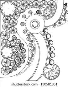 Plan of garden with plant symbols black and white