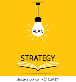 plan in a light bulb and strategy on open book : yellow background vector : Business concept