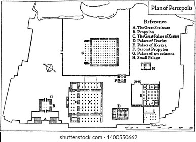Plan of Persepolis in 513 BC which the palaces of Persepolis are built, vintage line drawing or engraving illustration.