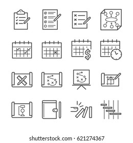 Plan and schedule line icon set. Included the icons as note, strategy, plan, timeline and more.