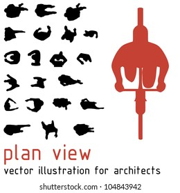 Plan view silhouettes for architectural designs. Vector illustration