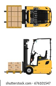The plan view three-wheeled counterbalance forklift. Flat vector.