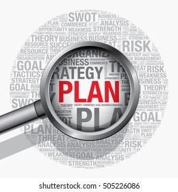 Plan word cloud business concept, vector presentation template