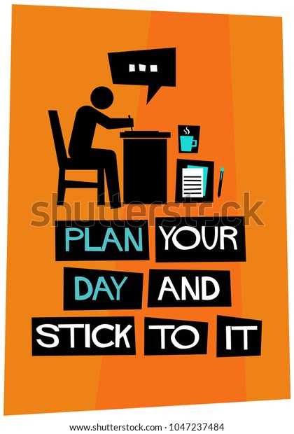 Plan Your Day Stick Poster Flat Stock Vector (Royalty Free) 1047237484