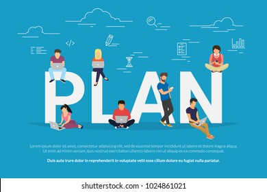 Plan your work and projects concept vector illustration of business people using devices for working, project development and planning growth. Flat concept of professionals using laptop for teamwork