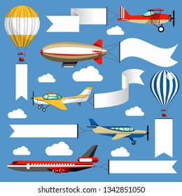 Plane and air balloon corn duster and airship air banners vector blank stripes or ribbons empty space for commercial or creative greeting aircraft with long paper posters airliner and dirigible