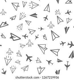 Plane Aircraft airport, Travel concept. Seamless vector EPS 10 pattern. Multicolor Figures.