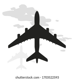 Plane or airplane in the sky icon on white background. Vector illustration in trendy flat style. EPS 10.