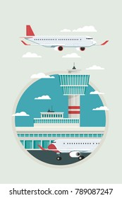 Plane at Airport arrivals and departures travel sky and clound background bule, Vector Illustration