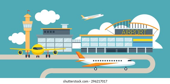 Plane and Airport Flat Design Illustration Icons Objects, Station Concept