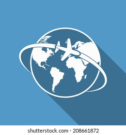 plane around the world icon with long shadow