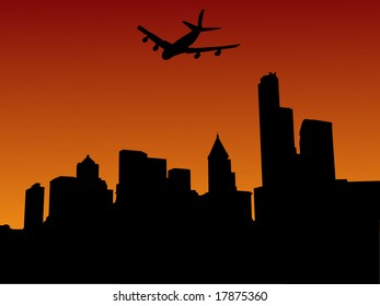 plane arriving in seattle at sunset illustration