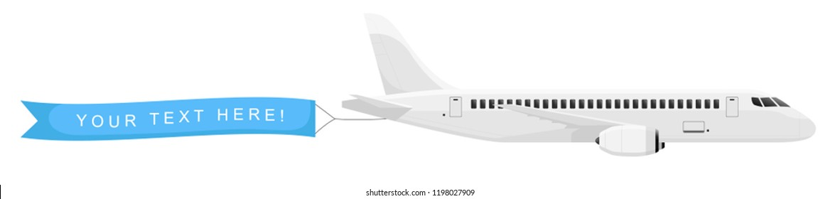 Plane with banner in the sky isolated on white background. Air vehicle with an empty ribbon for advertising. Simple realistic and modern design. Flat style vector illustration.