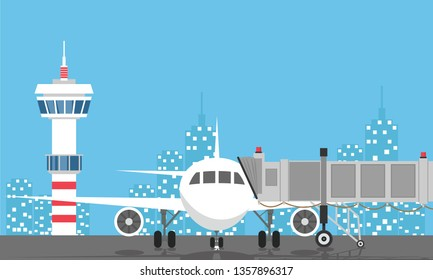 Plane before takeoff. Airport control tower, jetway, terminal building and parking area. Cityscape. Sky with clouds and sun. Vector illustration in flat style - Vector illustration