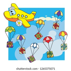 Plane cartoon character and parachutes with presents boxes