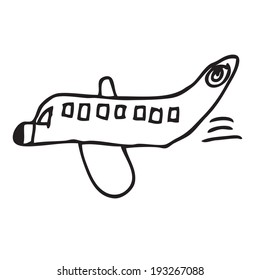 Plane childish drawing doodle