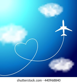 Plane in the clouds with heart-shaped smoke trail on the blue sky. Illustration for logotypes, posters, greeting and invitation cards, print and web projects.