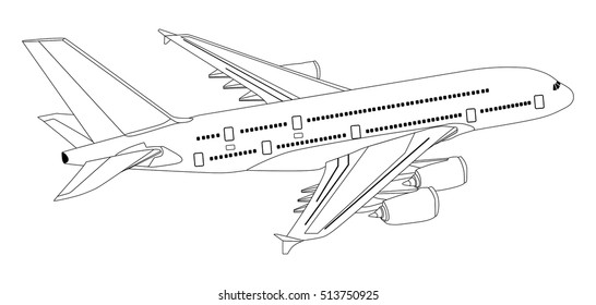 Plane Commercial Jet Aeroplane Flying in isolated background travel and tourism concept passenger with out line of all parts cockpit body wings tail aircraft on the air useful for business vector