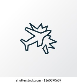 Plane crash icon line symbol. Premium quality isolated exploding element in trendy style.