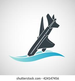 Plane Crash icon. A terrorist act. Stock vector illustration