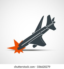 Plane crash. Terrorist act. Stock vector illustration.