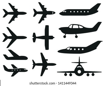 Plane different icons set. Vector