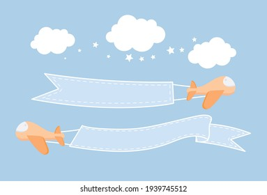 Plane dragged nameplate fly in sky, Vector illustration in flat style