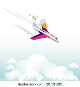 plane falling form the sky