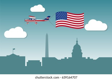 Plane with flag of United States of America over the Washington DC. Vector illustration.