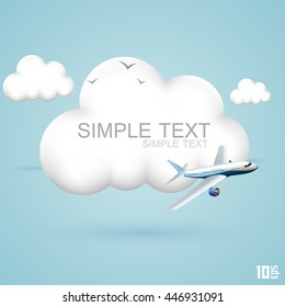 The plane flies in the clouds. Symbol of 3d cloud and plane. Concept travel background. Vector illustration