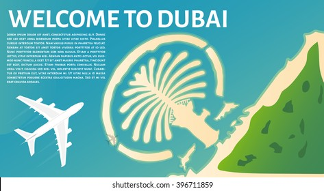 The plane flies to Dubai. Tourism in United Arab Emirates. Top view of the island in the form of a palm tree. Travel banner
