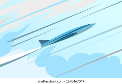 The plane flies in the sky. Vector. Blue sky and white clouds. Takeoff. Speed. Up. A supersonic plane breaks through a fog of clouds. Flat.